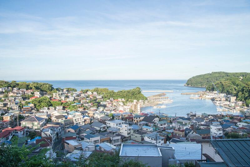 高台から真鶴港を望む景色