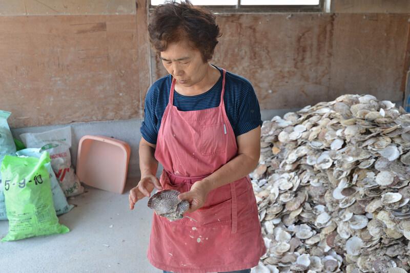 ホタテ貝の加工を手掛けている小形まり江さん