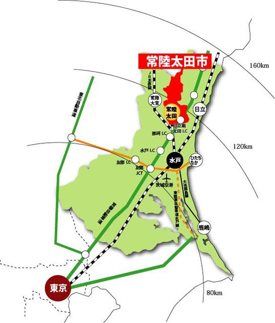 常陸太田市の位置図