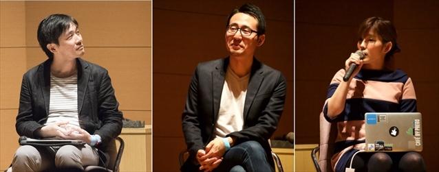 左から登壇するIAMAS小林茂氏、ビーサイズ株式会社 八木啓太氏、株式会社UPQ中澤氏(c)POST
