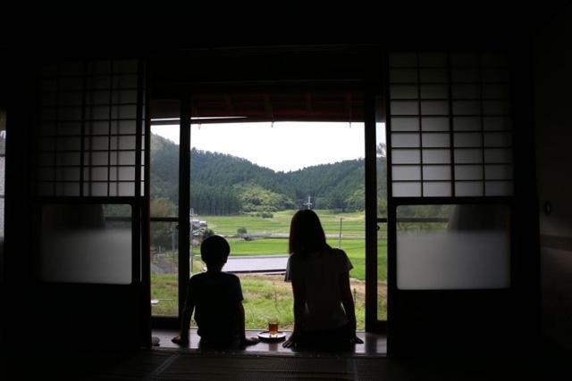 親子と丹波の景色