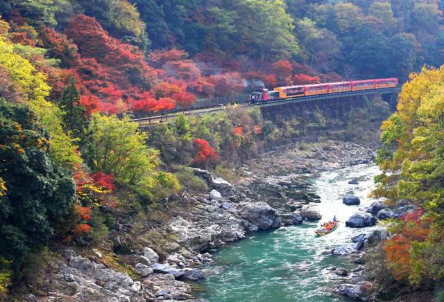 保津川と電車