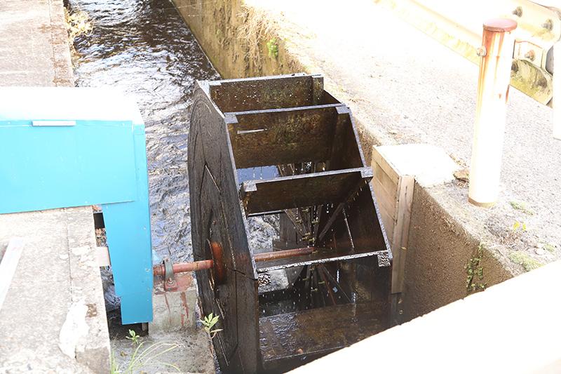 小水力発電に挑戦する様子