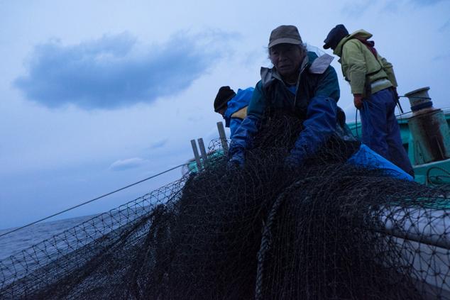 漁師さんの作業